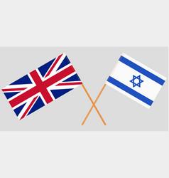 Crossed flags israel and uk vector