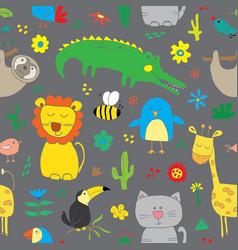 Cute animals seamless pattern cartoon hand drawn vector