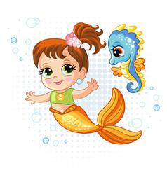 Cute baby mermaid and little seahorse vector