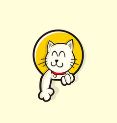 Cute cat smile character vector