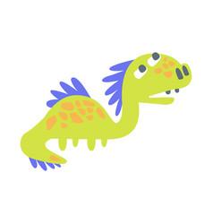 Cute funny green dinosaur prehistoric animal vector