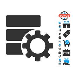 Database options gear icon with free bonus vector