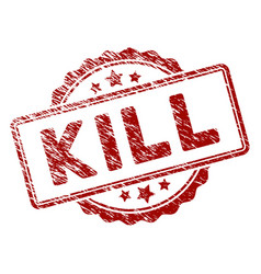 Distress textured kill text stamp seal vector