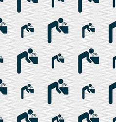 drinking fountain icon sign Seamless pattern with vector image