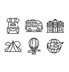 Excursion icons set outline style vector