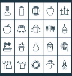 Farm icons set collection of watering can cereal vector