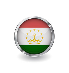 flag of tajikistan button with metal frame and vector image