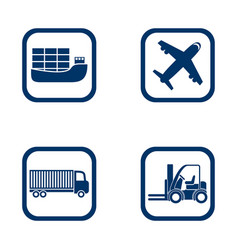 Flat design icons export import set vector