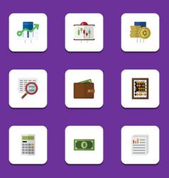 Flat icon gain set of cash calculate greenback vector