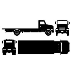 flatbed truck black icons vector image