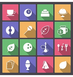 food and entertainment icons in flat design vector image