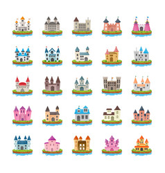 Fort flat icons vector