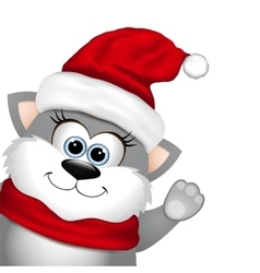 Funny Christmas cat vector
