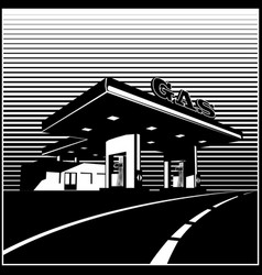 Gas station on the road retro style vector