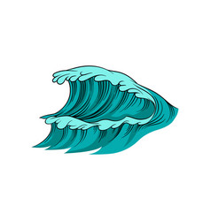 giant wave with foam high vector image