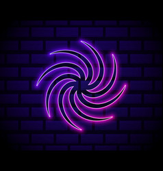 Glowing neon black hole icon isolated on brick vector
