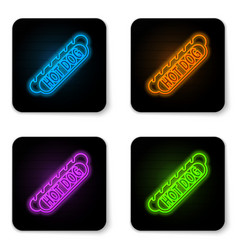 glowing neon hotdog sandwich icon isolated on vector image