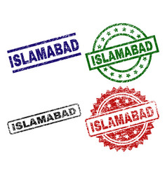 Grunge textured islamabad stamp seals vector