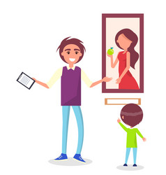guided excursion in picture gallery for school kid vector image