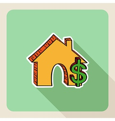 Hand drawn real estate house money symbols vector