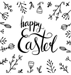 Handwritten lettering happy easter with doodle vector