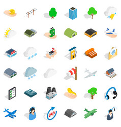 hanger for plane icons set isometric style vector image