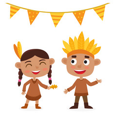 happy thanksgiving day indian boy and girl vector image