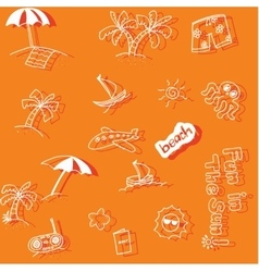 Holiday beach doodle art vector image