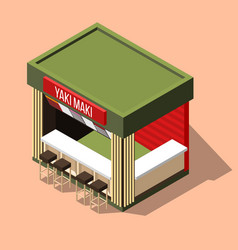 Isometric sushi bar background vector