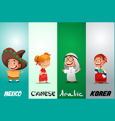 Kids dressed in traditional clothing vector