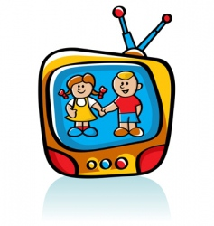 kids on tv vector image