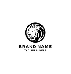 Lion round circle emblem coin tattoo logo template vector
