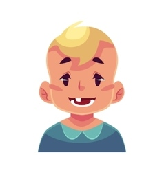 Little boy face smiling facial expression vector image