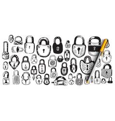 locks doodle set vector image