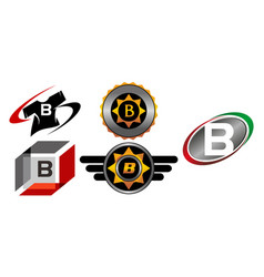Logotype b modern template set vector