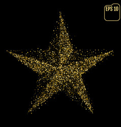 Macro of gold christmas star isolated on black vector