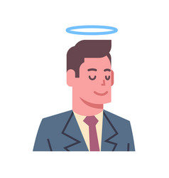 Male head with nimbus emotion icon isolated avatar vector