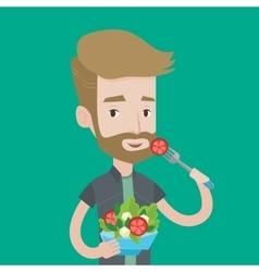 Man eating healthy vegetable salad vector