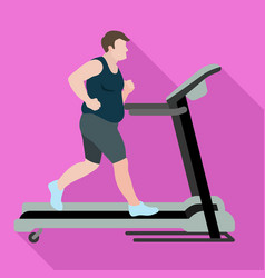 Man lose weight treadmill icon flat style vector