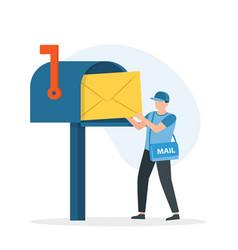 man postman with bag on shoulder put letter in vector image