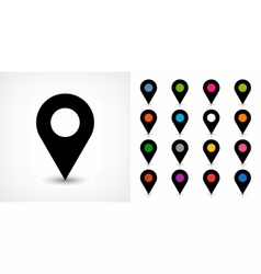 Map pin sign location icon with drop shadow vector