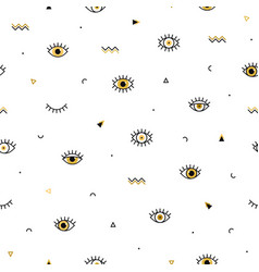 memphis pattern with psychedelic eyes and vector image