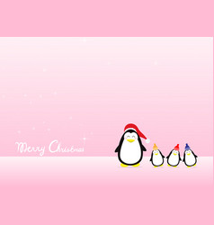 merry christmas greeting card with penguins cute vector image