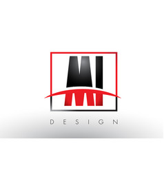Mi m i logo letters with red and black colors and vector