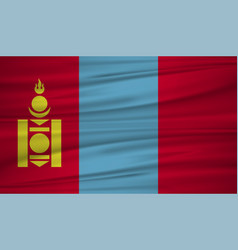 Mongolia flag flag of mongolia blowig in the vector