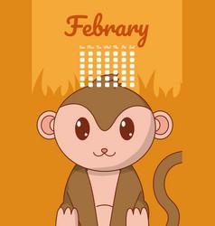 Monkey cute calendar cartoon vector