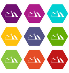 mountains icon set color hexahedron vector image