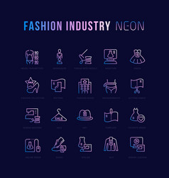 Neon linear icons fashion industry vector