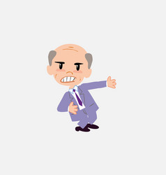 old businessman shows very angry something to his vector image