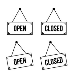 open and closed hanging plate vector image